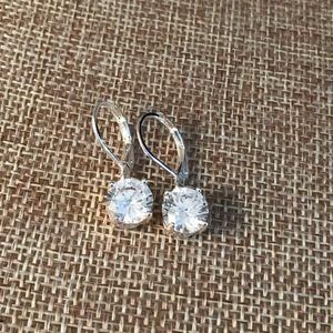 Jewelry - Silver Crystal Drop Pierced Earrings